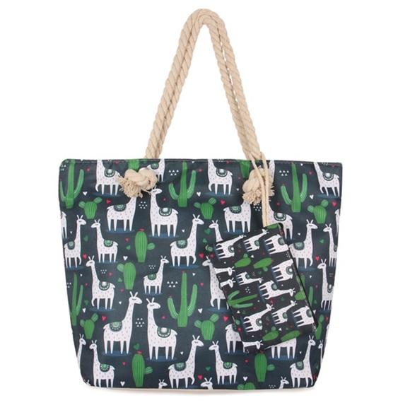 Handbags - BLACK Llama and Cactus Tote Bag